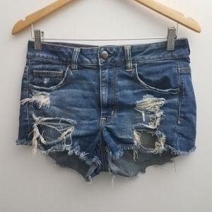 American Eagle Jean Shorts 8 Hi-Rise Shortie Fray